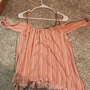 Coral & cream summer top